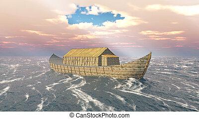 bárka, noah's, stormy óceán