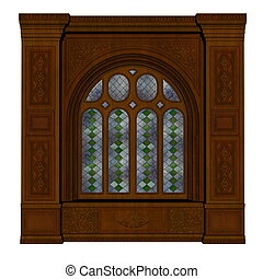 bástya, -, ablak, render, 3