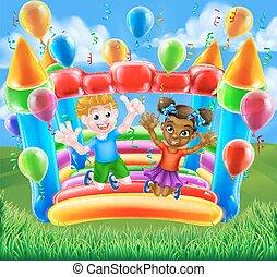 bástya, gyerekek, bouncy, karikatúra