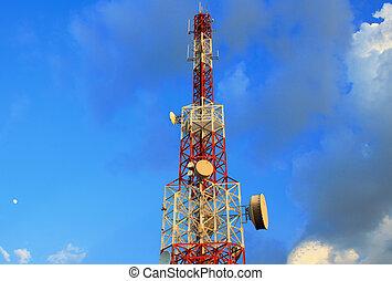 bástya, kék ég, híradástechnika, gyönyörű