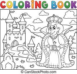 bástya, könyv, királyné, színezés