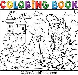 bástya, könyv, kiránduló, színezés