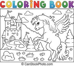 bástya, könyv, pegazus, színezés