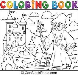 bástya, könyv, színezés, druida