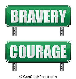 bátorság, aláír, út, bátorság, &
