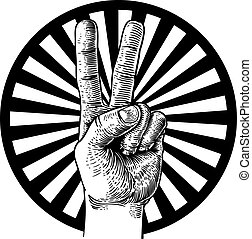 béke cégtábla, diadal, kéz