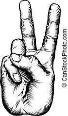 béke cégtábla, diadal, v, kéz, vagy, üdvözöl