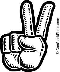 béke cégtábla, kéz