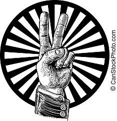 béke, diadal, kezezés cégtábla