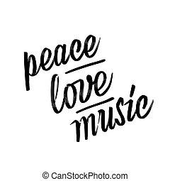 béke, felirat, kezezés., music., szeret