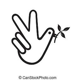béke, galamb, kéz