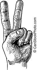 béke, két, kéz, tapogat, aláír, diadal