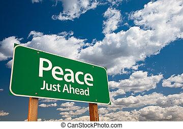 béke, zöld, út cégtábla