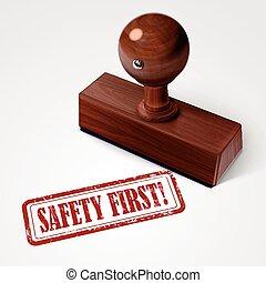bélyeg, biztonság, piros, először