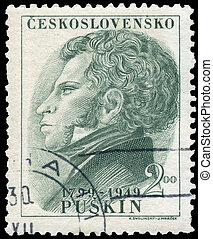 bélyeg, csehszlovákia, nyomtatott, tol, portré, látszik, sándor
