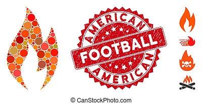 bélyeg, elbocsát, labdarúgás, mózesi, ikon, amerikai, csiszolt, láng