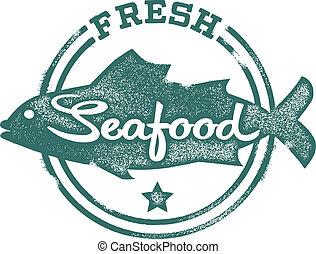 bélyeg, friss seafood, étrend