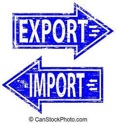 bélyeg, import, export