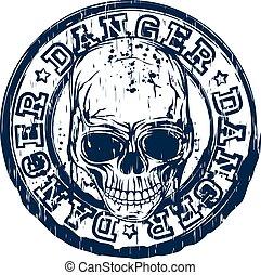 bélyeg, koponya, veszély