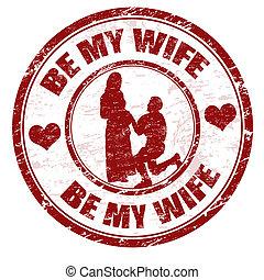 bélyeg, lenni, az enyém, feleség