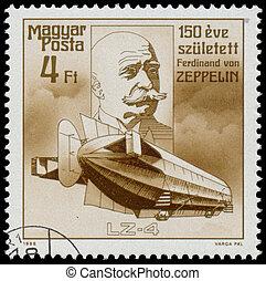 bélyeg, nyomtatott, magyarország, látszik, zeppelin