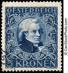 bélyeg, nyomtatott, portré, látszik, ausztria, mozart