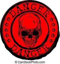 bélyeg, piros, koponya, veszély