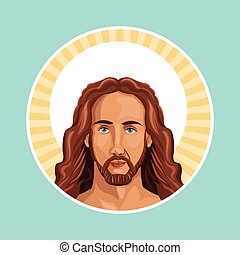 bélyeg, portré, krisztus, jézus