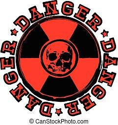 bélyeg, radioaktivitás, koponya, veszély