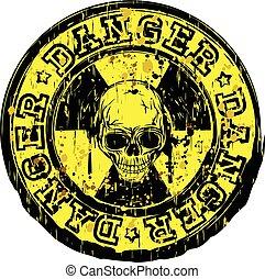 bélyeg, sugárzás, koponya, veszély