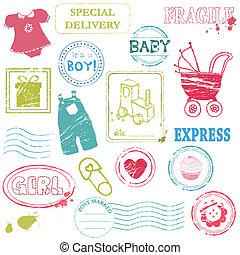 bélyeg, szín, vektor, gyűjtés, csecsemő
