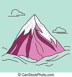 bíbor, hegy, peak., clods., havas