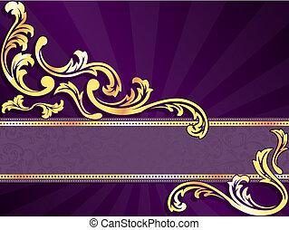 bíbor, horizontális, transzparens, arany