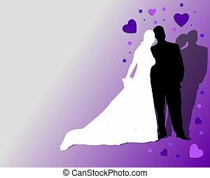 bíbor, párosít, háttér, esküvő