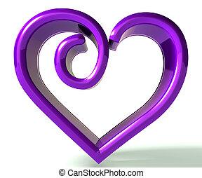bíbor, swirly, kép, szív, 3