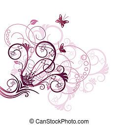 bíbor, virágos, sarok, tervezés elem