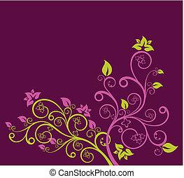 bíbor, virágos, vektor, zöld, ábra