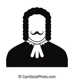 bíró, fekete, ikon