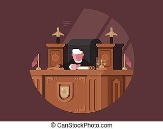 bíró, szék, bölcs, workplace