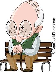 bírói szék, ember, öreg
