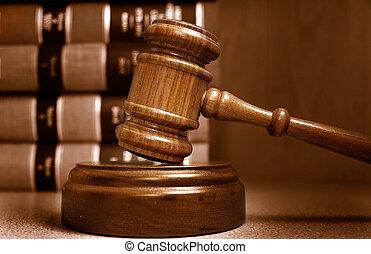 bírók, kazalba rakott, mögött, előjegyez, árverezői kalapács, törvény