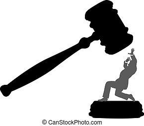 bíróság, ügy, veszély, személy, igazságtalanság, árverezői kalapács