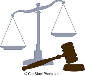 bíróság, mérleg, méltányosság rendszer, jogi, jelkép, árverezői kalapács