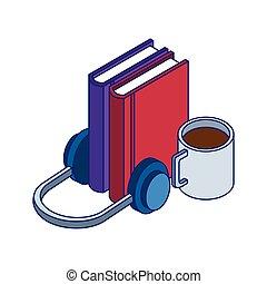 bögre, fejhallgató, előjegyez, kávécserje