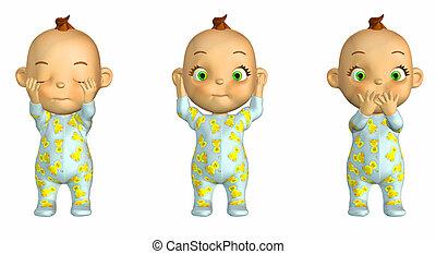 bölcs, három, kisbabák