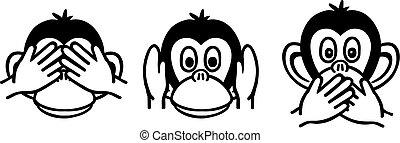 bölcs, három, majmok