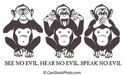 bölcs, majmok, három