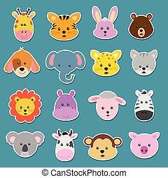 böllér, állat, karikatúra, arc