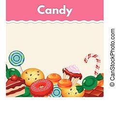 böllér, háttér, cakes., színes, édesség, cukorka