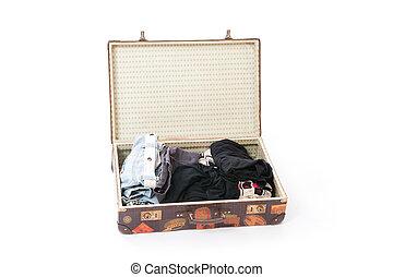 böllér, utazás, öreg, bőrönd